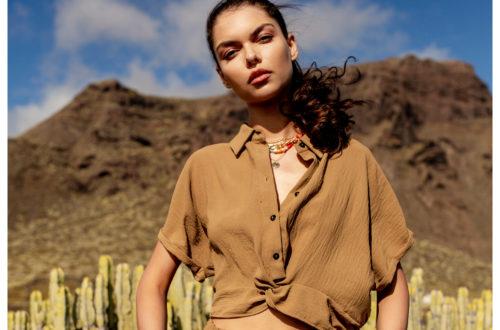 modna bluzka koszulowa w kolorze brązowym